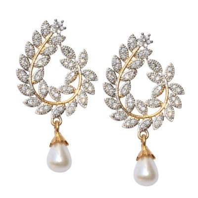 Ethnic pearl jhumka earrings with white stones