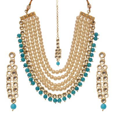 Beautiful Sky Blue Colour Pearl Necklace Set
