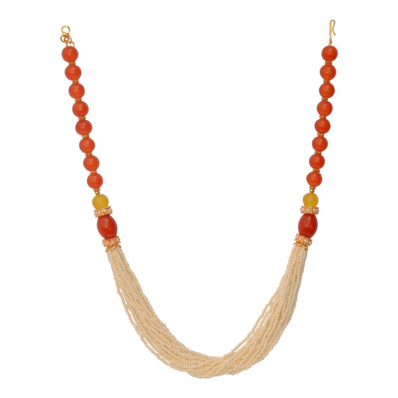 Stylish Pearl Necklace Set in Orange Colour