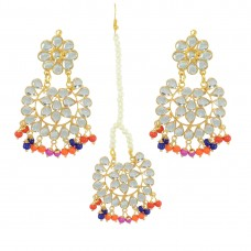 Designer Multicolor Pearls Maang Tikka With Earrings