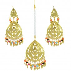 Golden Copper Maang Tikka And Earrings
