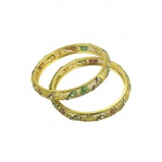 Gold Plated Studded Multicolored Set Of 2 Bangles