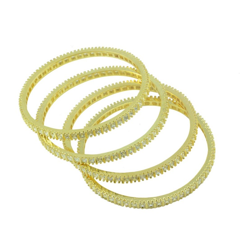 AD Studded Gold Plated Set Of 4 Bangles
