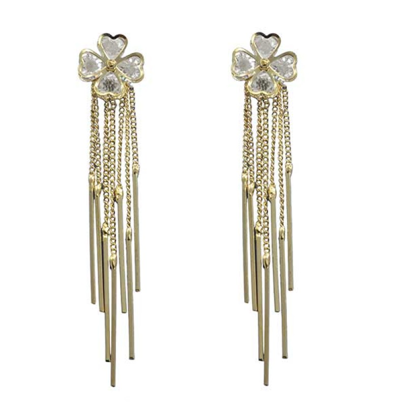 Crystal Flower Studded Earrings Dangled With Chain