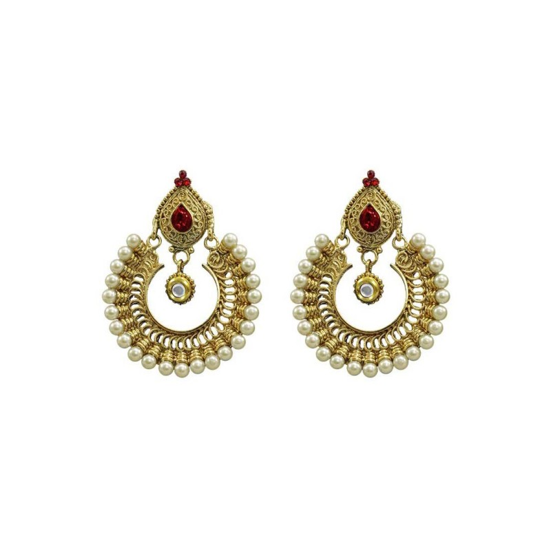 Red Kundan Dangler For Women