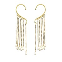 Pearls Ear Cuffs With Tassels Chain