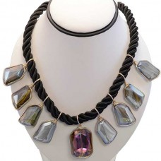 Stylish Solid Crystal Black Necklace