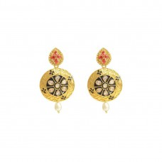 Pink Stones With Floral Design Kundan Earrings