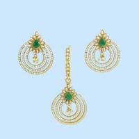 Jaipuri Maang Tikka with Earrings in Green