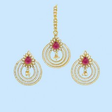 Jaipuri Maang Tikka With Earrings In Pink