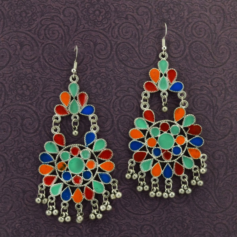 Silver Toned Oxidized Colorful Earrings