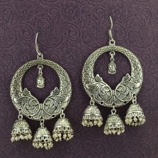 Oxidized Silver Toned Earrings With Floral Touch