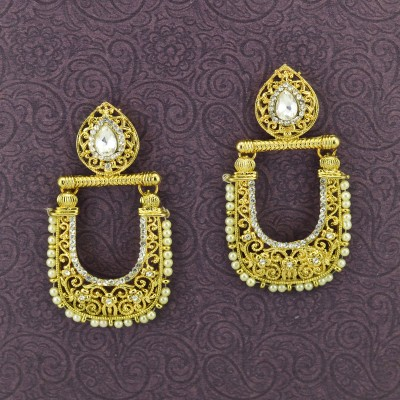 Gold Plated Studded Earrings With Synthetic Pearls