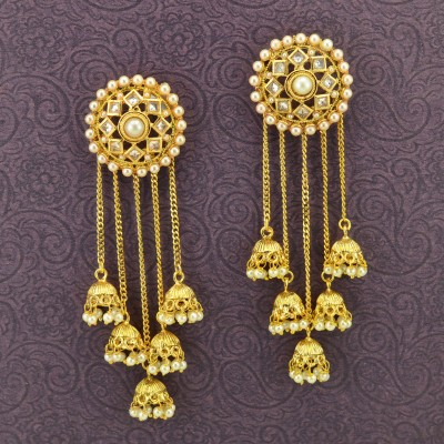 Gold Plated Beaded Drop Earrings