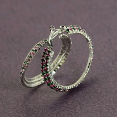 Silver Plated Hoop Earrings With Pink And Green Stone