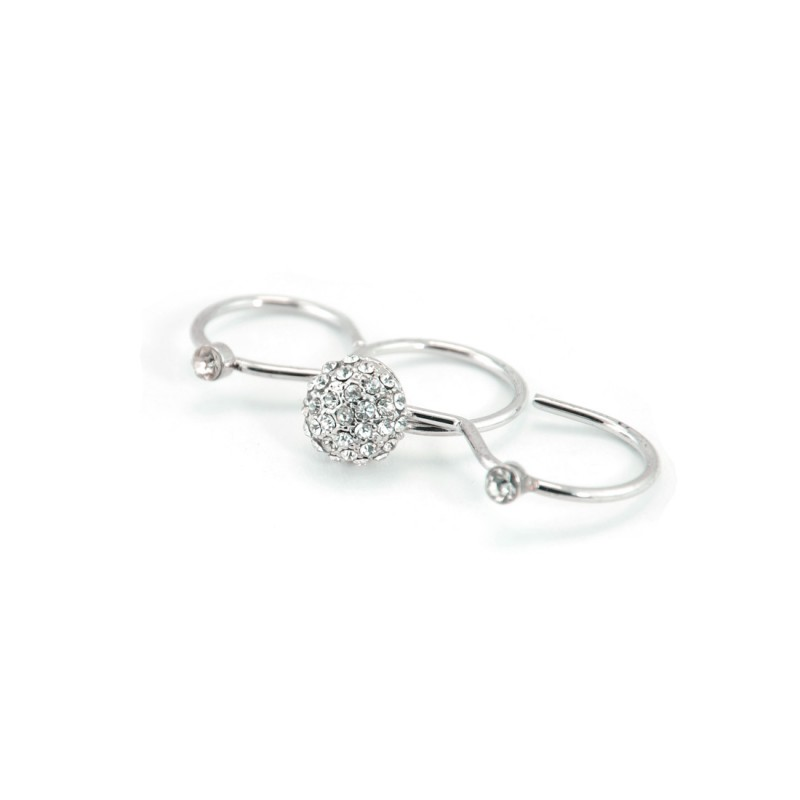 3-In-1 Rounded Stones Ring In Silver