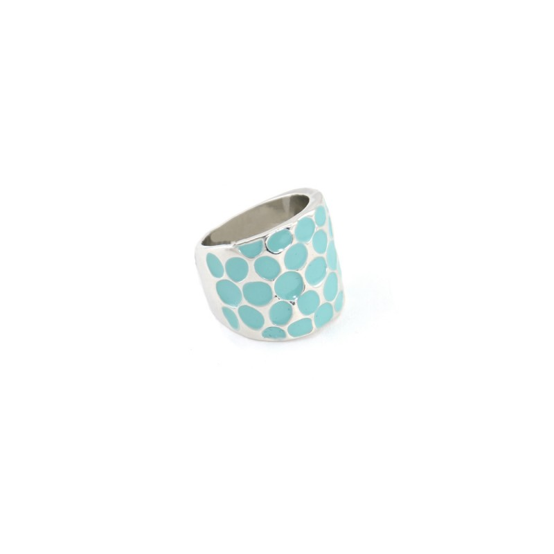 Ocean Blue Polka Dots Silver Ring