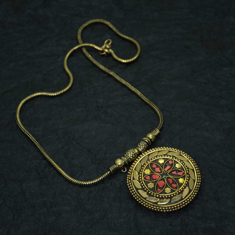 Oxidized Gold Toned Pendent Necklace