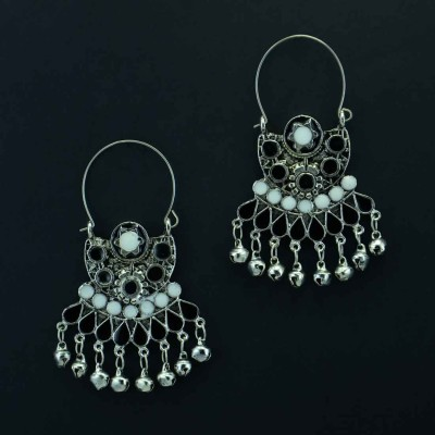 Oxidized Silver Toned Chandbalis With Bell Drops In Black
