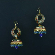 Gold Plated Enamel Jhumkas With Drop Pearls