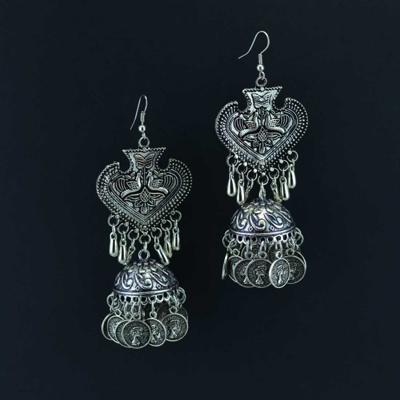 Oxidized Silver Toned Jhumkas With Coins