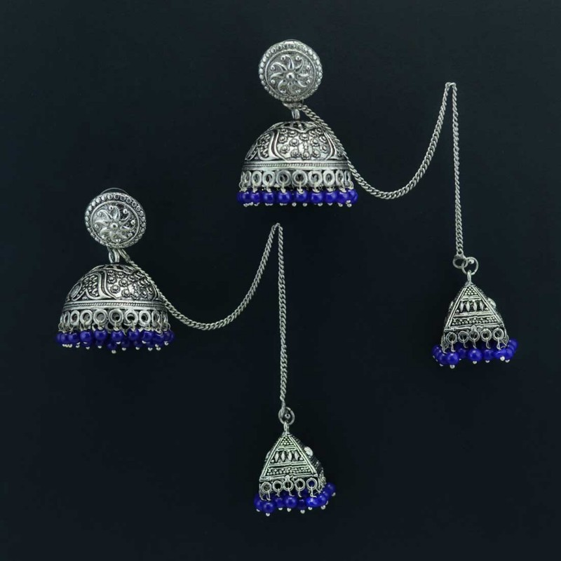 Silver Plated Jhumkis With Chain In Blue