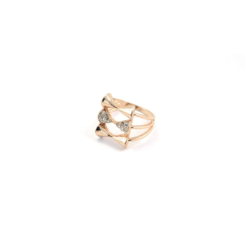 Triple Bow Stones Ring In Copper