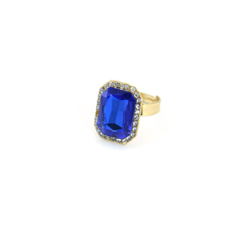 Blue Stone Ring With Princess Cut