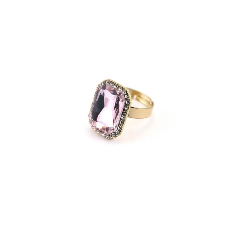 Pink Stone Ring With Princess Cut