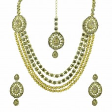 Gold Plated Multi Layered Necklace Set With Maang Tikka