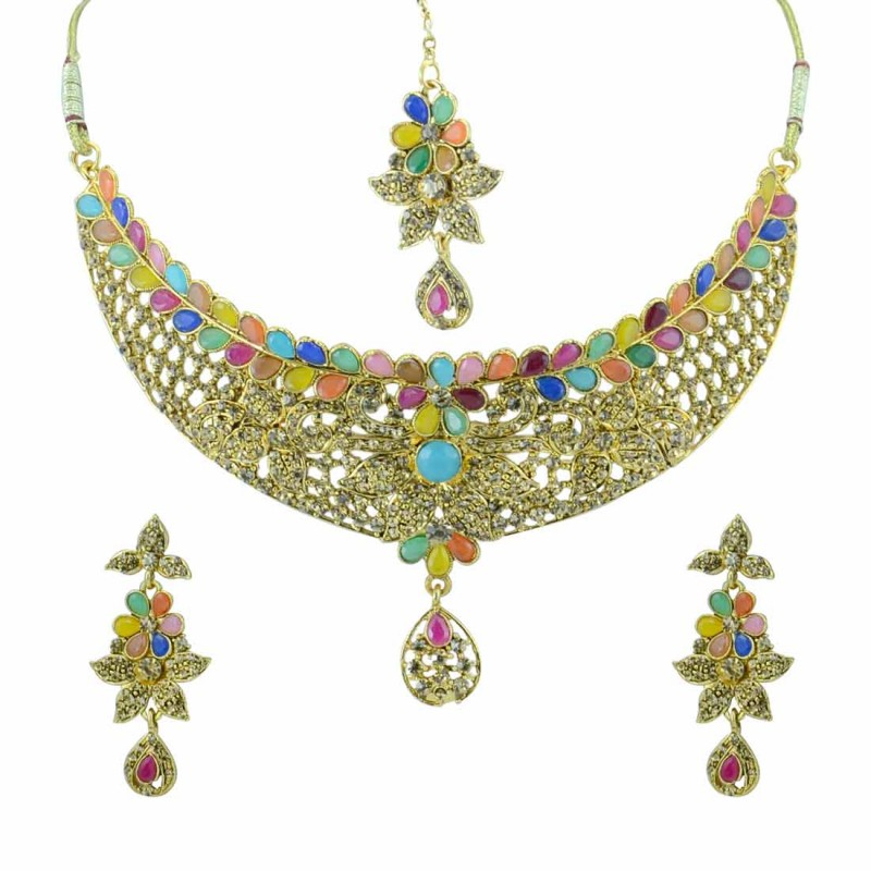 Gold Plated Multicolor  Kundan Necklace Set With Maang Tikka