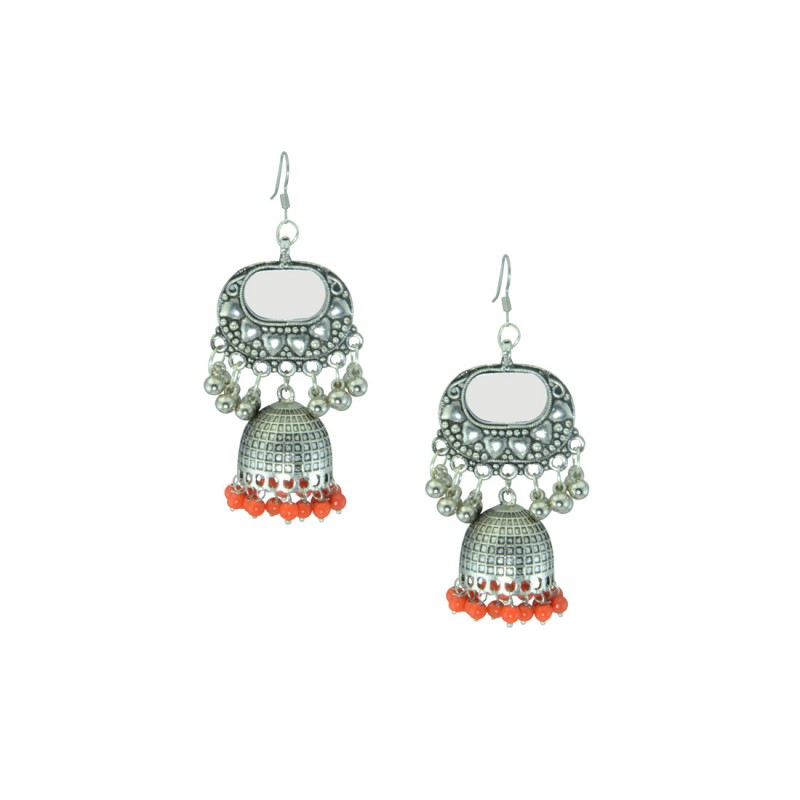 Oxidized Silver Plated  Earring With Multiple Orange Pearls