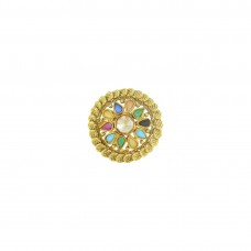 Gold Plated Multi Colored Adjustable Ring With Kundan