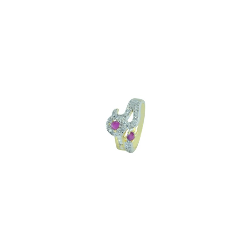 Designer Gold Plated AD RING In Pink Color