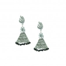 Silver Plated Designer Jhumki Earrings In Black Color