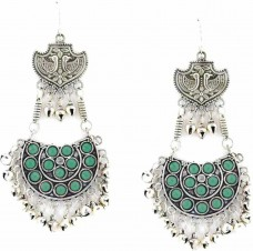 Oxidized Chandbalis In Green Stone