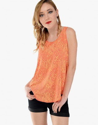 Orange Lace Pattern Top By Shipgig