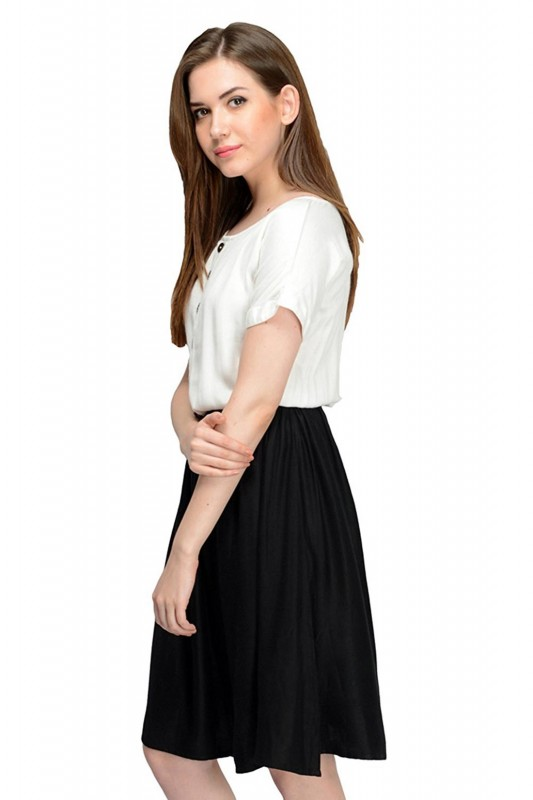 White With Black Solid Dress By Shipgig