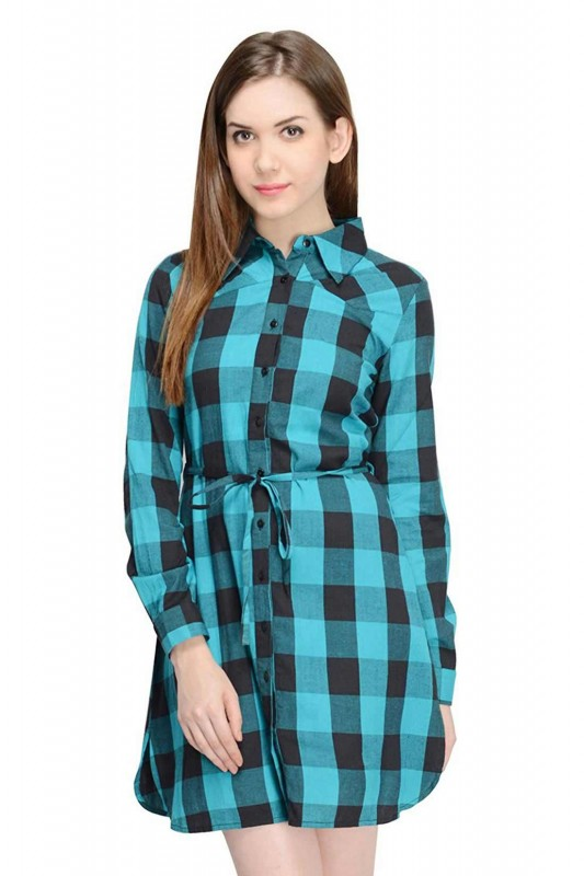 Sea Blue Full Sleeves Short Dress