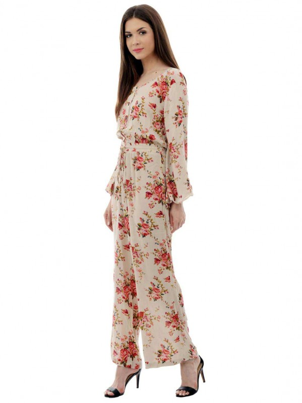 Multi Print Georgette Long Jumpsuit  By Shipgig