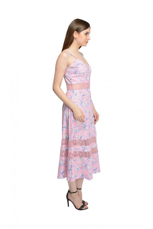 Floral Print Pink Dress By Shipgig