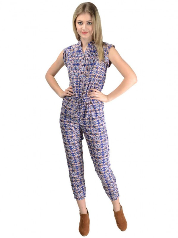 Blue  Printed Jumpsuit For Women By Shipgig