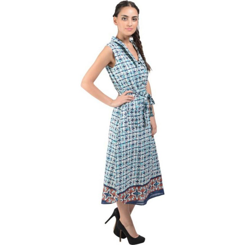 Blue Cotton Cambric Printed Sleeveless Maxi Dress By Shipgig
