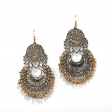 Foral Pattern With Multicoloured Kundan Danglers