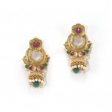 Gold Plated Jhumkas With Multicoloured Kundan And Synthetic Pearls