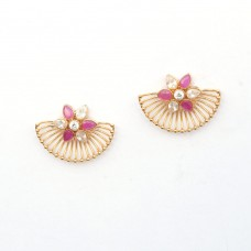 Gold Plated Flower Shaped Earrings