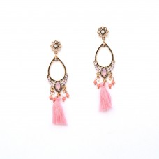 Beautiful Designer Pink Earring With Ethnic Touch