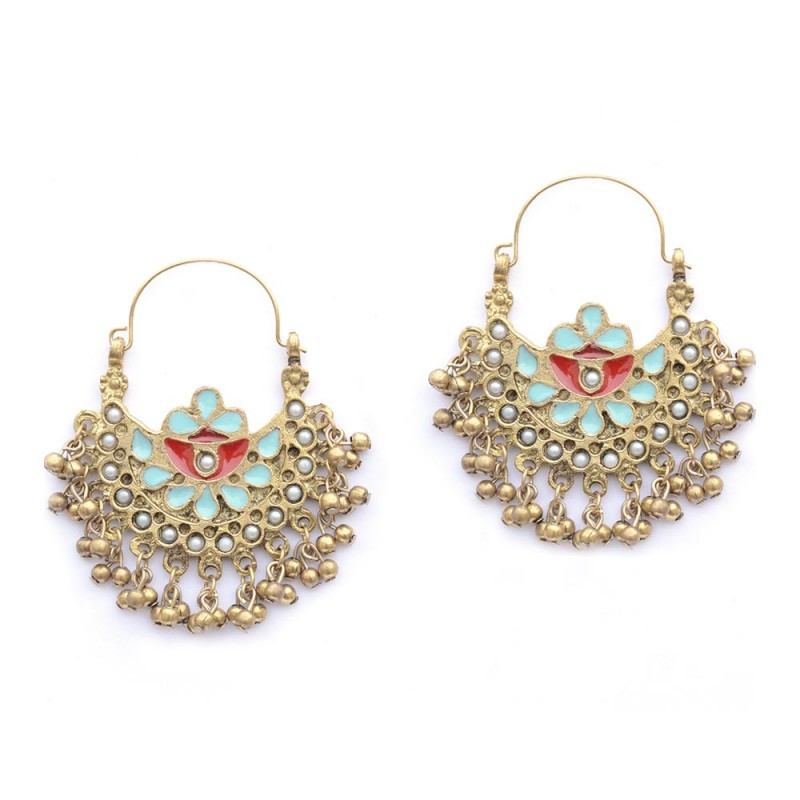 Beautiful Gold Plated Chandbalis With Floral Print