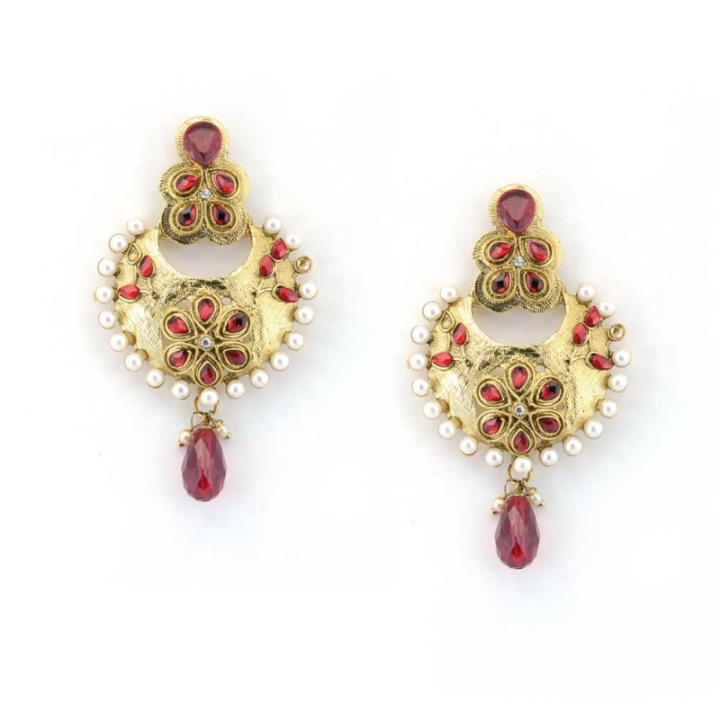 Beautiful Gold Hand Crafted Danglers With Red Stones