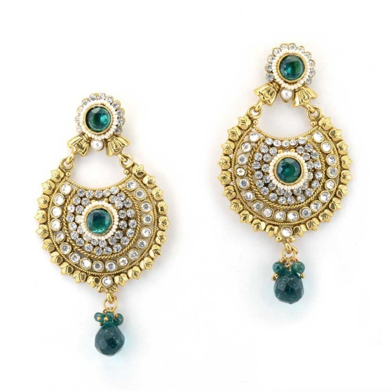 Gold Plated Studded Chandbalis In Green Stone